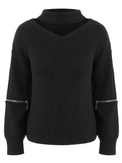 V Neck Oversized Choker Sweater - Black