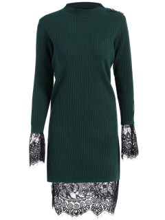 Lace Panel Cut Out Knitting Dress - Green