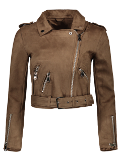 Lapel Zipper Pockets Suede Jacket - Khaki S