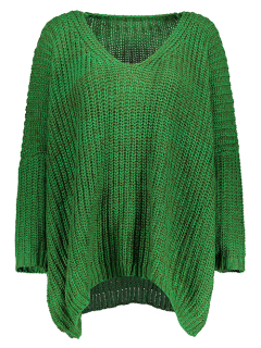 Space Dye Oversized Batwing Sweater - Green