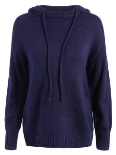 Hooded Uneven Hem Sweater - Cyan