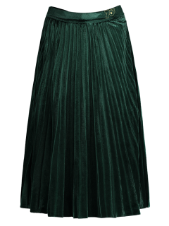 Velvet Pleated Midi Skirt - Green L