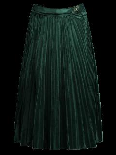 Terciopelo Plisado Falda De Midi - Verde S