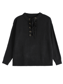 Long Sleeve Solid Color Lace Up Sweater - Black