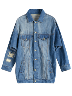 Turn-Down Collar Ripped Denim Coat - Denim Blue M