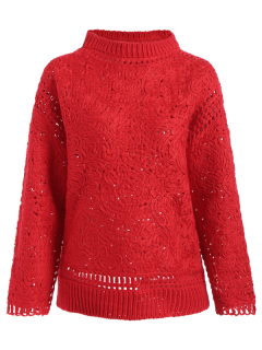 Ganchillo Suéter De Cuello Alto - Rojo