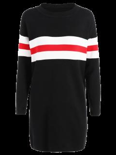 Contrastant Stripe Chandail Long - Noir