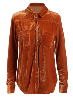 Camisa Terciopelo Bolsillos En Pecho - Rojo Anaranjado S