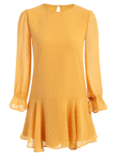 De Puntos De Cuello Redondo De Las Colmenas Del Vestido De Cambio - Amarillo S