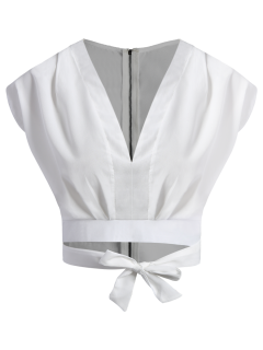 Blanco Con Cremallera Con Cintura Del Corsé De Hundimiento Sin Mangas Cuello Camisa Corta - Blanco Xl