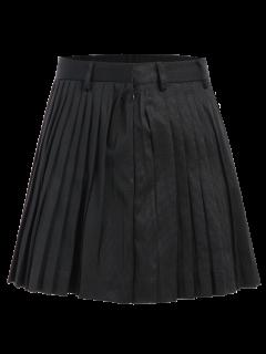 Pleated A-Line Mini Skirt - Black L