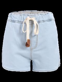 Drawstring Denim Shorts - Light Blue L