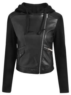 Hooded PU Leather Panel Jacket - Black S