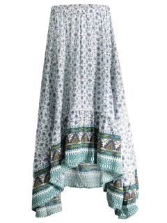 Patterned High Low Maxi Boho Skirt - White S