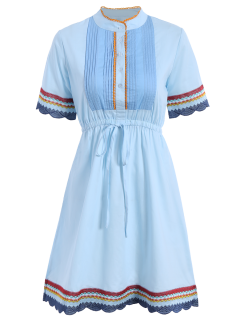 Embroidered Pleated Front Dress - Blue S