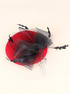 Fascinator Tejido En Hilo Sombrero Pillbox - Rojo