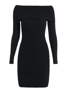 Ribbed Off The Shoulder Sweater Bodycon Dress - Black