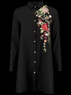 Floral Embroidered Long Sleeve A-Line Dress - Black L