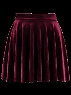Mini-jupe Trapèze En Velours  - Bourgogne S