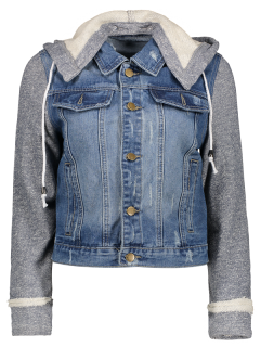 Hooded Denim Jacket - Blue+gray S