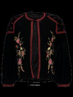 Embroidered Velvet Jacket - Black S