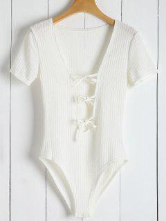 Ribbed Knit Tie Front Plunge Bodysuit - White Xl