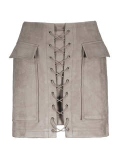 Lace Up Faux Suede Mini Skirt - Off-white M