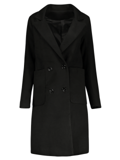 Double Breasted Wool Blend Midi Coat - Black L