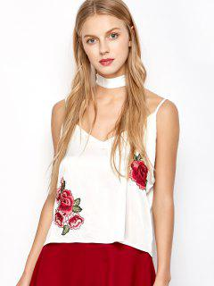 Satin Camisole Top With Choker Strap - White L