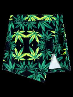 Leaf Print Packet Buttock Slit Skirt - Green