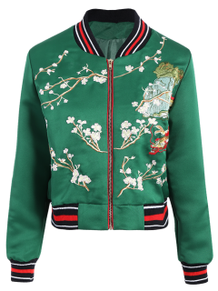 Flower Embroidery Bomber Jacket - Green S