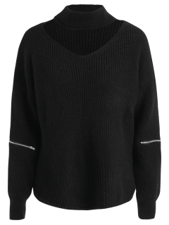 Zippered Sleeve Choker Jumper - Black
