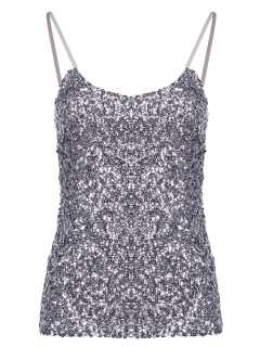 Sequin Solid Color Spaghetti Straps Tank Top - Silver