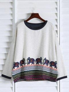 Imprimer Ethnique épaule Drop Sweatshirt - Blanc