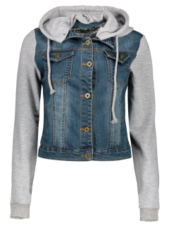 Hooded Denim Panel Jacket - Denim Blue Xs