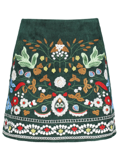 Corduroy Embroidered A-Line Skirt - Green S