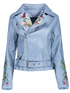 Embroidered Lapel Collar Faux Leather Jacket - Azure S