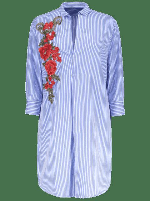 Robe chemisier tunique rayée avec broderieflorale - Bleu S Mobile