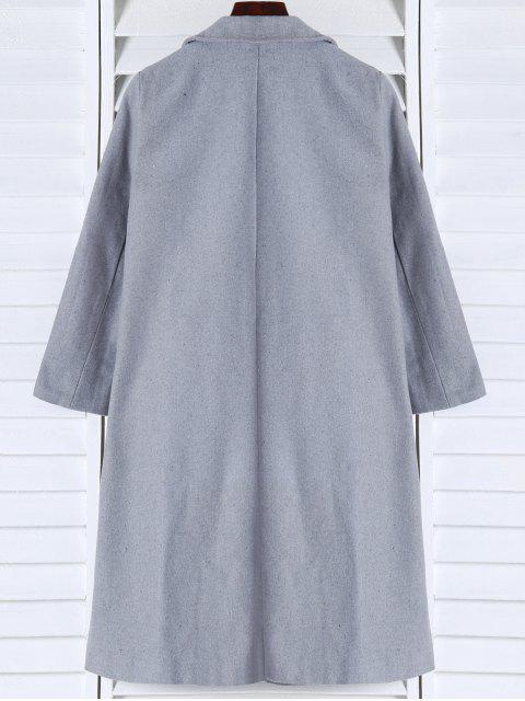 shops Shawl Neck Gray Wool Coat - GRAY L Mobile