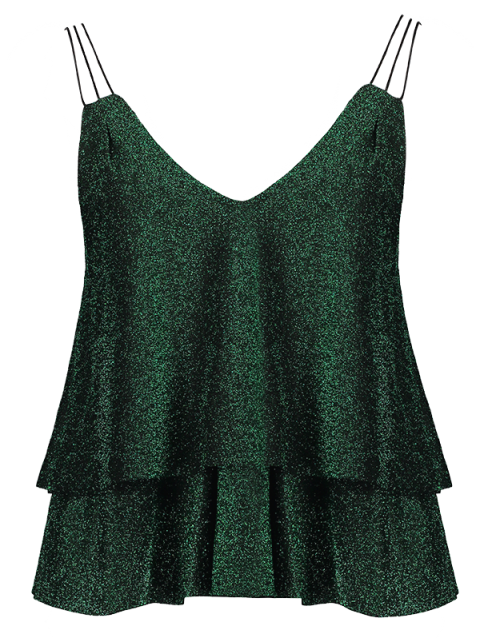 hot Cropped Layered Strappy Glitter Tank Top - BLACKISH GREEN L Mobile