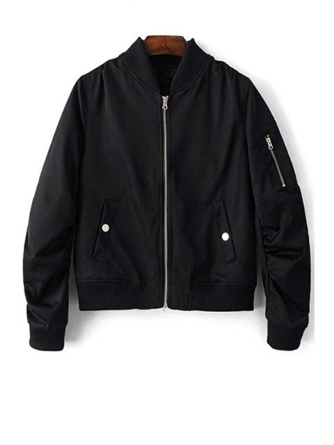 Stehen Neck Zip Up Pilot Jacket - Schwarz M Mobile
