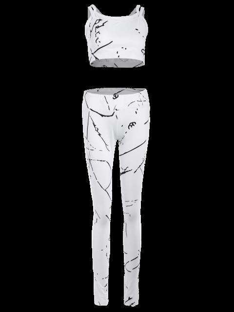 fashion Paint Splatter Mesh Paneled Gym Suit - WHITE L Mobile