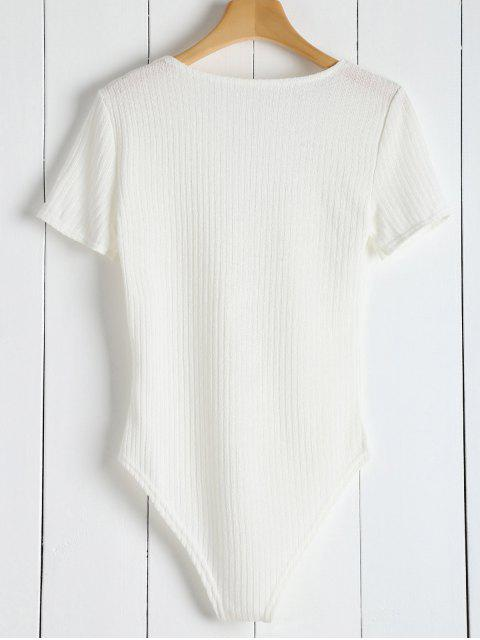 fashion Ribbed Knit Tie Front Plunge Bodysuit - WHITE S Mobile