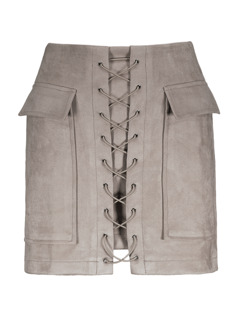 women's Lace Up Faux Suede Mini Skirt - OFF-WHITE M Mobile
