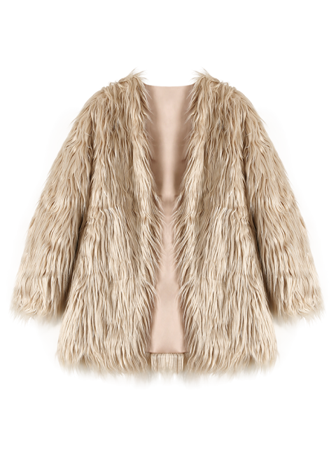 best Open Front Fluffy Faux Fur Coat - LIGHT KHAKI S Mobile