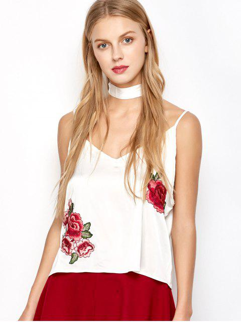 shop Satin Camisole Top With Choker Strap - WHITE L Mobile