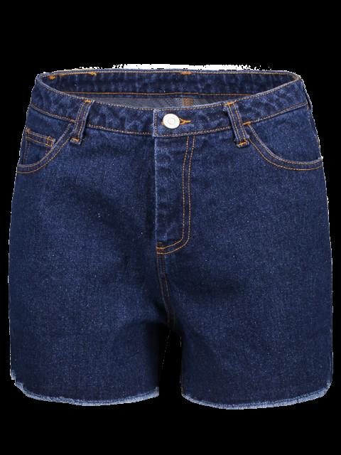 outfits Frayed High Waist Denim Shorts - DEEP BLUE XS Mobile