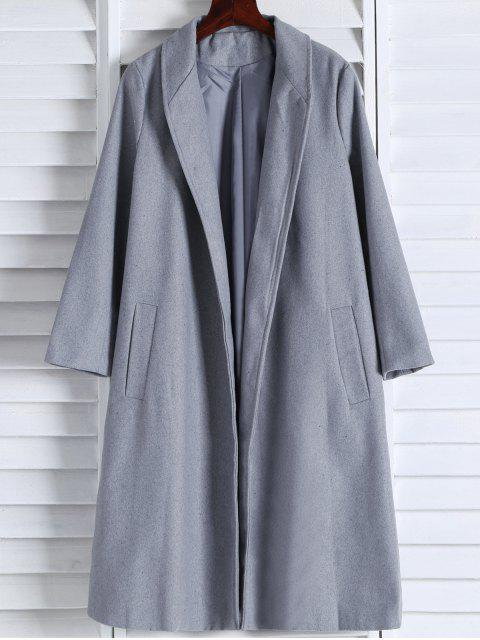 latest Shawl Neck Gray Wool Coat - GRAY XL Mobile