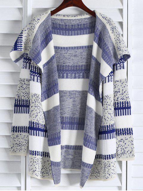 new Open Front Jacquard Long Cardigan - BLUE AND WHITE ONE SIZE(FIT SIZE XS TO M) Mobile