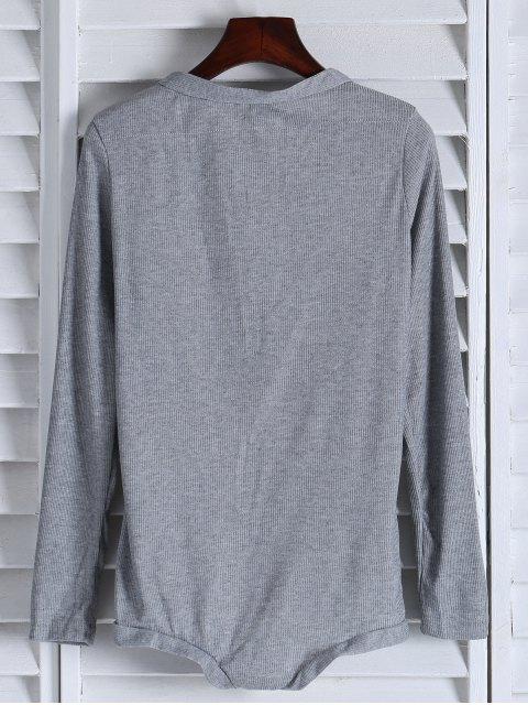 ladies Solid Color Button Design Bodysuit - GRAY M Mobile